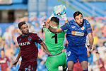 Enric Gallego of Getafe CF and Ugurcan Cakir of Trabzonspor during UEFA Europa League match between Getafe CF and Trabzonspor at Coliseum Alfonso Perez in Getafe, Spain. September 19, 2019. (ALTERPHOTOS/A. Perez Meca)