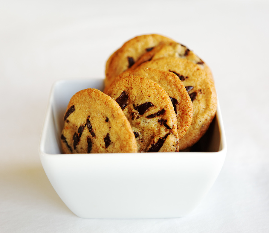 Chocolate chip cookies in white bowl, by pastry chef Laurie Pfalzer, Pastry Craft
