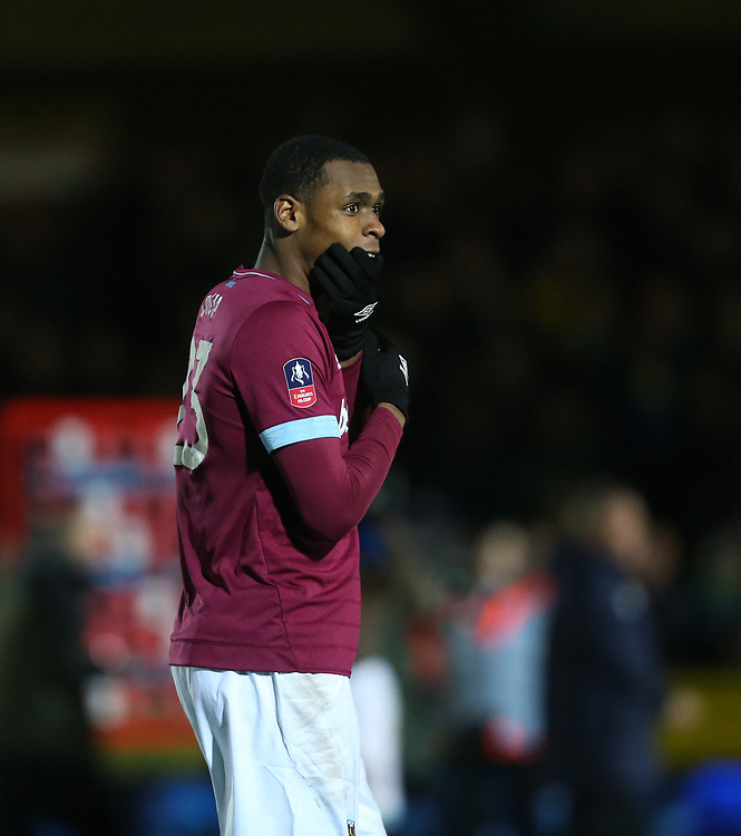 West Ham United's Issa Diop<br /> <br /> Photographer Rob Newell/CameraSport<br /> <br /> Emirates FA Cup Fourth Round - AFC Wimbledon v West Ham United - Saturday 26th January 2019 - Kingsmeadow Stadium - London<br />  <br /> World Copyright © 2019 CameraSport. All rights reserved. 43 Linden Ave. Countesthorpe. Leicester. England. LE8 5PG - Tel: +44 (0) 116 277 4147 - admin@camerasport.com - www.camerasport.com