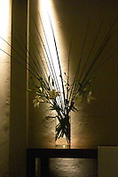 Decoration at the entrance, graphic composition of flowers and spot lighting The Dolly Irigoyen - famous chef and TV presenter - private restaurant, Buenos Aires Argentina, South America Espacio Dolli
