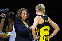 Skysport's Melodie Robinson interviews Katrina Grant after the ANZ Premiership netball match between the Central Pulse and Mainland Tactix at TSB Bank Arena in Wellington, New Zealand on Sunday, 9 April 2017. Photo: Dave Lintott / lintottphoto.co.nz