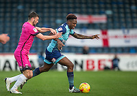 Anthony Stewart of Wycombe Wanderers holds off Pádraig Amond of Hartlepool United during the Sky Bet League 2 match between Wycombe Wanderers and Hartlepool United at Adams Park, High Wycombe, England on 26 November 2016. Photo by PRiME Media Images.