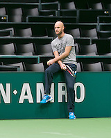 09-02-14, Netherlands,Rotterdam,Ahoy, ABNAMROWTT, Melle van Gemerden(NED) the coach of Thiemo de Bakker<br /> Photo:Tennisimages/Henk Koster