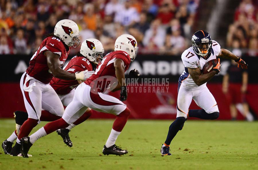 Aug. 30, 2012; Glendale, AZ, USA; Denver Broncos wide receiver (17) Andre Caldwell against the Arizona Cardinals during a preseason game at University of Phoenix Stadium. Mandatory Credit: Mark J. Rebilas-