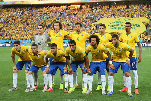 Brazil team group line-up, <br /> JUNE 12, 2014 - Football /Soccer : <br /> 2014 FIFA World Cup Brazil <br /> Group Match -Group A- <br /> between Brazil 3-1 Croatia <br /> at Arena de Sao Paulo, Sao Paulo, Brazil. <br /> (Photo by YUTAKA/AFLO SPORT)