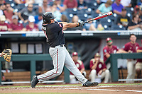 Texas Tech Red Raiders first baseman Cameron Warren (11) swings the bat during Game 9 of the NCAA College World Series against the Florida State Seminoles on June 19, 2019 at TD Ameritrade Park in Omaha, Nebraska. Texas Tech defeated Florida State State 4-1. (Andrew Woolley/Four Seam Images)