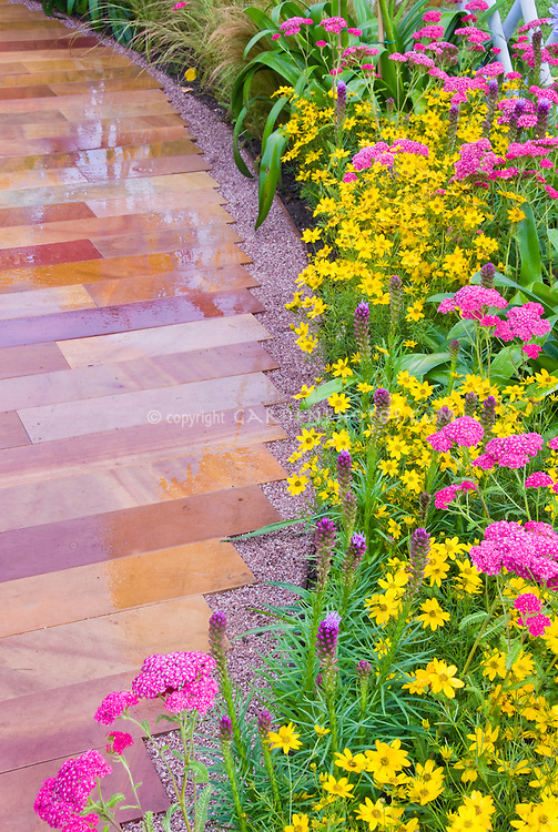 Garden Path for Curb Appeal using Achillea, Coreopsis, Agapanthus, Liatris, etc in yellow and pinks