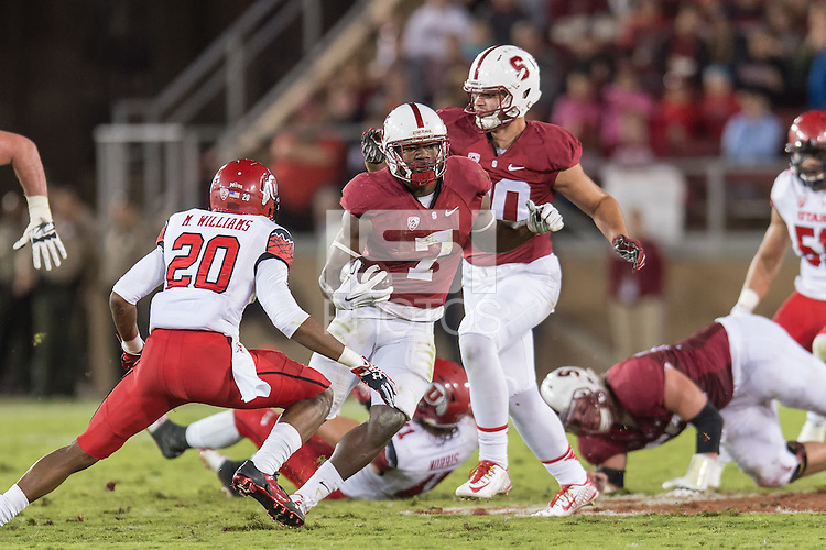 STANFORD, CA - November 15, 2014: The Stanford Cardinal vs Utah Utes game at Stanford Stadium in Stanford, California. Final score, Stanford Cardinal 17, Utah 20 (2OT)