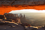 The Famous Mesa Arch at sunrise in Canyonlands National Park in Utah, USA. This is a multi image high resolution panorama.
