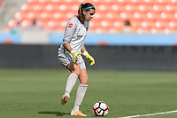 Houston, TX - Saturday May 27, 2017: Lydia Williams stops a shot on goal during a regular season National Women's Soccer League (NWSL) match between the Houston Dash and the Seattle Reign FC at BBVA Compass Stadium.