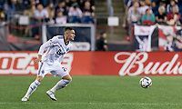 Foxborough, Massachusetts - August 12, 2017: In a Major League Soccer (MLS) match, New England Revolution (blue/white) defeated Vancouver Whitecaps (white), 1-0, at Gillette Stadium.