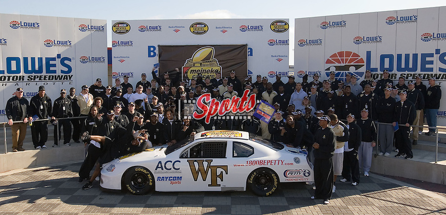 The Wake Forest Demon Deacons pose for a team photo in the Winner's Circle at Lowe's Motor Speedway Thursday, December 27, 2007 in Concord, NC.