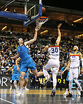 19.03.2019, Mercedes Benz Arena, Berlin, GER, EuroLeague/EuroCup, ALBA ERLIN vs.  MoraBanc Andorra, <br /> im Bild Dennis Clifford (ALBA Berlin #33), Reggie Upshaw (Andorra #30), Jerome Jordan (Andorra #44)<br /> <br />      <br /> Foto © nordphoto / Engler