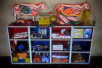 Training and learning props donated by the 'Twin Teachers' for residents of a remote village in Lampung province. The twin sisters spent a few days with the villagers providing them with training facilities to gain practical skills as part of their adult education programme targeting women empowerment. Since the early 1990s, twin sisters Sri Rosyati (known as Rossy) and Sri Irianingsih (known as Rian) have used their family inheritance to set up and run 64 schools in different parts of Indonesia, providing primary education combined with practical skills to some of the country's most deprived children.