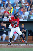 Errol Robinson #6 of the Ole Miss Rebels bats during Game 4 of the 2014 Men's College World Series between the Virginia Cavaliers and Ole Miss Rebels at TD Ameritrade Park on June 15, 2014 in Omaha, Nebraska. (Brace Hemmelgarn/Four Seam Images)