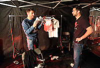 Pictured L-R: Angel Rangel and Jordi Amat 01 April 2015<br />