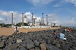 Pondicherry promenade by the sea. The Gandhi monument. 2015