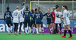 AMSTELVEEN -  Vreugde bij Pinoke na een doelpunt   tijdens de hoofdklasse competitiewedstrijd dames, Pinoke-Amsterdam (3-4). COPYRIGHT KOEN SUYK