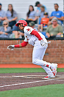 Johnson City Cardinals right fielder Jonathan Rivera (52) runs to first base during a game against the Bristol Pirates at TVA Credit Union Ballpark on June 23, 2017 in Johnson City, Tennessee. The Pirates defeated the Cardinals 4-3. (Tony Farlow/Four Seam Images)