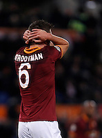 Calcio, Serie A: Roma vs Cagliari. Roma, stadio Olimpico, 25 novembre 2013.<br /> AS Roma midfielder Kevin Strootman, of the Netherlands, reacts after missing a scoring chance during the Italian Serie A football match AS Roma and Cagliari between AS Roma and Cagliari at Rome's Olympic stadium, 25 November 2013.<br /> UPDATE IMAGES PRESS/Isabella Bonotto
