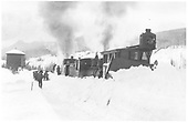 RGS plow-flanger #02 with locomotive on siding at Trout Lake.<br /> RGS  Trout Lake, CO  1913