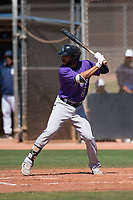 Colorado Rockies infielder Carlos Herrera (5) at bat during an Extended Spring Training game against the San Diego Padres at Peoria Sports Complex on March 30, 2018 in Peoria, Arizona. (Zachary Lucy/Four Seam Images)