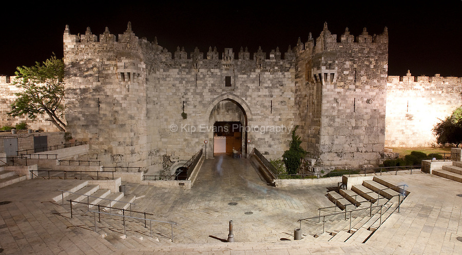 Stone walls and Dung Gate that surround the Old City of Jerusalem in Israel.