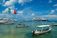 Like most visitors to Cozumel, Mexico's largest island just of the cost of the Yucatán Peninsula, my day started early at the once sleepy fishing village, San Miguel where cruise ships mingled with local fishing boats and a giant Mexican flag fluttered in the breeze. ..