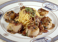 Scallops in Bacon Sauce with Yellow Saffron Rice