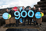 Diageo receives its accreditation as a Living Wage employer for it UK operations. It is the 900th company to achieve accreditation in Scotland. From left: apprentices Andrew Hunter, Calum Hendrie, Cabinet Secretary for Economy, Jobs &amp; Fair Work, Keith Brown MSP, David Cutter, President of Global Supply &amp; Procurement, Diageo, Jack Evans, Living Wage Foundation and apprentices Kevin Jolly and James Goldie. The barrel park, Alloa Cooperage, Diageo. 01 Sep 2017. <br />