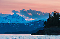 Sunrise over the Chugach mountain range, northern Prince William Sound, southcentral, Alaska.