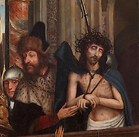 Ecco Homo, detail, from a Triptych of the Virgin of the Calvary, 1514-17, by Quentin Metsys, 1466-1530, originally for the Mosteiro de Santa Clara, in the Museu Nacional de Machado de Castro, Coimbra, Portugal. The triptych was commissioned by King Dom Manuel I, 1469-1521. The museum was opened in 1913 and renovated 2004-2012. The city of Coimbra dates back to Roman times and was the capital of Portugal from 1131 to 1255. Its historic buildings are listed as a UNESCO World Heritage Site. Picture by Manuel Cohen