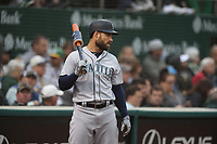 OAKLAND, CA - JUNE 14:  Mac Williamson #12 of the Seattle Mariners watches from the on deck circle during the game against the Oakland Athletics at the Oakland Coliseum on Friday, June 14, 2019 in Oakland, California. (Photo by Brad Mangin)