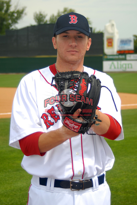 Lowell Spinners pitcher Corey Littrell #37, the Boston Red Sox 5th round pick in the 2013 draft, poses for a photo prior to a game versus the Hudson Valley Renegades at LeLacheur Park in Lowell, Massachusetts on August 18, 2013.  (Ken Babbitt/Four Seam Images)