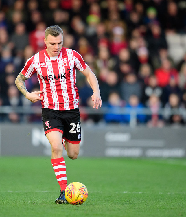 Lincoln City's Harry Anderson<br /> <br /> Photographer Chris Vaughan/CameraSport<br /> <br /> The EFL Sky Bet League Two - Lincoln City v Newport County - Saturday 22nd December 201 - Sincil Bank - Lincoln<br /> <br /> World Copyright © 2018 CameraSport. All rights reserved. 43 Linden Ave. Countesthorpe. Leicester. England. LE8 5PG - Tel: +44 (0) 116 277 4147 - admin@camerasport.com - www.camerasport.com