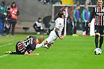 06.10.2019, Commerzbankarena, Frankfurt, GER, 1. FBL, Eintracht Frankfurt vs. SV Werder Bremen, <br /> <br /> DFL REGULATIONS PROHIBIT ANY USE OF PHOTOGRAPHS AS IMAGE SEQUENCES AND/OR QUASI-VIDEO.<br /> <br /> im Bild: Martin Hinteregger (Eintracht Frankfurt #13), Leonardo Bittencourt (SV Werder Bremen #10)<br /> <br /> Foto © nordphoto / Fabisch