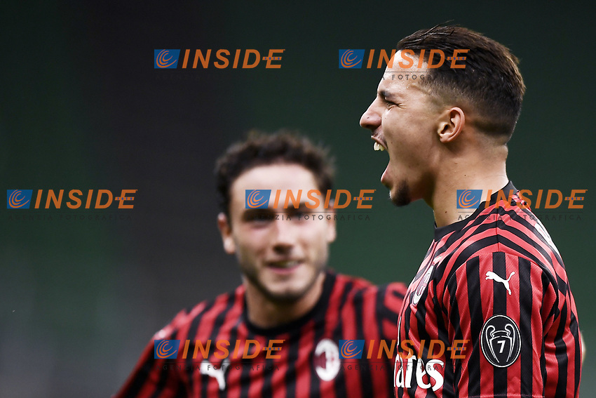 Ismael Bennacer of AC Milan celebrates after scoring a goal during the Serie A football match between AC Milan and Bologna FC at stadio Giuseppe Meazza in Milano ( Italy ), July 18th, 2020. Play resumes behind closed doors following the outbreak of the coronavirus disease. <br /> Photo Image Sport / Insidefoto