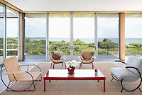 contemporary minimal living room with garden view