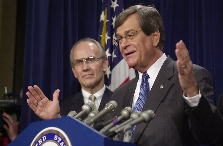 11Lott052401 --  Larry Craig, R-ID., and Trent Lott, R-Miss., talk to reporters at a  press conference  about losing power in the Senate.