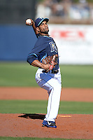 Tampa Bay Rays pitcher Braulio Lara (75) during a spring training game against the Minnesota Twins on March 2, 2014 at Charlotte Sports Park in Port Charlotte, Florida.  Tampa Bay defeated Minnesota 6-3.  (Mike Janes/Four Seam Images)