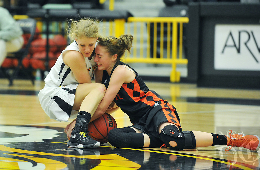 NWA Democrat-Gazette/MICHAEL WOODS • @NWAMICHAELW<br /> Gravette's Kyrstin Branscum (3) and Prairie Grove's Ashley Cox (33) fight for a loose ball Tuesday January 26, 2016 during their game at Prairie Grove High School.