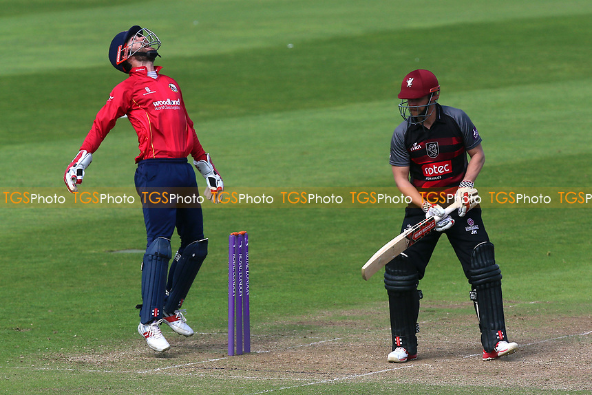 Delight for James Foster of Essex as he takes a catch to dismiss James Hildreth from the bowling of Ryan ten Doeschate during Somerset vs Essex Eagles, Royal London One-Day Cup Cricket at The Cooper Associates County Ground on 14th May 2017