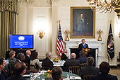 United States President Donald J. Trump address a group of governors during the 2019 White House Business Session at the White House in Washington, D.C. on February 25, 2019. Trump discusses the group on infrastructure, the opioid epidemic, border security and China trade policy. <br /> Credit: Kevin Dietsch / Pool via CNP