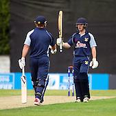 ICC World T20 Qualifier (Warm up match) - Canada V Western District Cricket Union select at Grange CC, Edinburgh - West District batsman Bradley Williams raises his bat to mark 50 — credit @ICC/Donald MacLeod - 06.7.15 - 07702 319 738 -clanmacleod@btinternet.com - www.donald-macleod.com