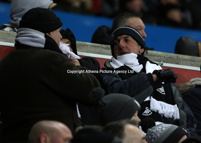 Swansea city fans during the Premier League match between Swansea City and Leicester City at The Liberty Stadium, Swansea, Wales, UK. Sunday 12 February 2017