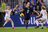 5th March 2020, Orlando, Florida, USA;  the United States midfielder Julie Ertz (8) challenges England defender Steph Houghton (5) during the SheBelieves Cup match between England and the USA on March 5, 2020, at Exploria Stadium in Orlando FL.
