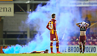 Disappointed bradford City players after they concede an injury time goal (Tony McMahon, Matthew Lund and Callum Guy) during the Sky Bet League 1 match between Bradford City and Wigan Athletic at the Northern Commercial Stadium, Bradford, England on 14 March 2018. Photo by Thomas Gadd.