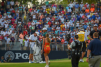 Jena Sims, Brooks Koepka's (USA) fiance, heads to the green on 18 for a huge congratulatory hug after winning the 100th PGA Championship at Bellerive Country Club, St. Louis, Missouri. 8/12/2018.<br /> Picture: Golffile | Ken Murray<br /> <br /> All photo usage must carry mandatory copyright credit (&copy; Golffile | Ken Murray)