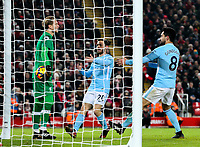 Manchester City's Ilkay Gundogan demands the ball from Liverpool's Loris Karius after making the score 4-3<br /> <br /> Photographer Alex Dodd/CameraSport<br /> <br /> The Premier League - Liverpool v Manchester City - Sunday 14th January 2018 - Anfield - Liverpool<br /> <br /> World Copyright &copy; 2018 CameraSport. All rights reserved. 43 Linden Ave. Countesthorpe. Leicester. England. LE8 5PG - Tel: +44 (0) 116 277 4147 - admin@camerasport.com - www.camerasport.com