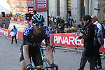 Salvatore Puccio (ITA) Team Sky after crossing the finish line at the end of a very dusty Strade Bianche 2019 running 184km from Siena to Siena, held over the white gravel roads of Tuscany, Italy. 9th March 2019.<br /> Picture: Eoin Clarke | Cyclefile<br /> <br /> <br /> All photos usage must carry mandatory copyright credit (© Cyclefile | Eoin Clarke)